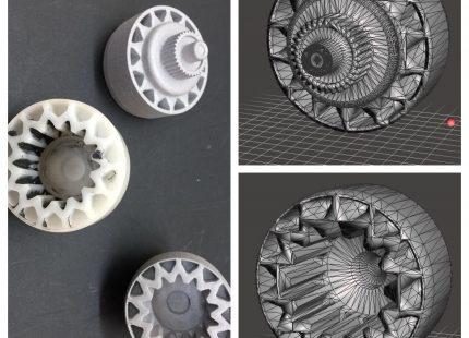 Diseño de engranaje con el servicio de impresión 3D